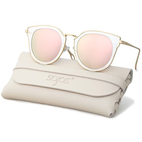 SojoS Fashion Polarized Sunglasses for Women UV400 Mirrored Lens SJ1057 With Gold Frame/Pink Polarized Lens with Soft Case