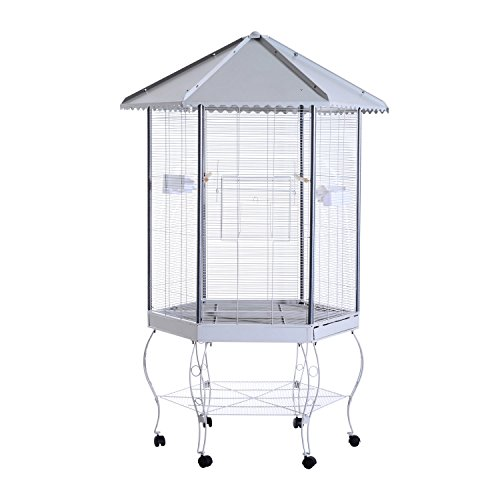 PawHut 44' Hexagon Covered Canopy Portable Aviary Flight Bird Cage With Storage