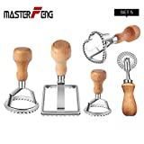 Ravioli Stamp Maker Cutter with Roller Wheel Set, MASTER FENG Mold with Wooden Handle and Fluted Edge, Pasta Press Kitchen Attachment (4 Set and Cutter)