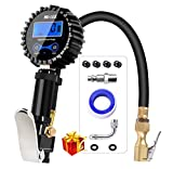 HEALiNK Digital Tire Pressure Gauge, 200 PSI Accurate Car Air Tire Inflator with Pressure Gauges, with LED LCD Air Chuck Rubber Hose Valve Extender Accessories for Motorcycle Bike Truck Vehicles