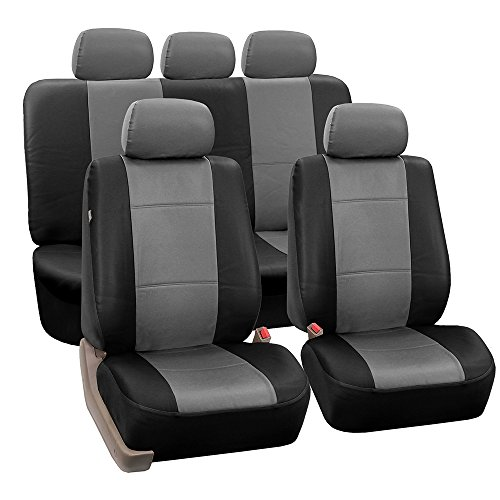 FH Group PU002GRAYBLACK115 Gray/Black Faux Leather Seat Cover (Full Set Airbag Compatible and Split Bench Cover)