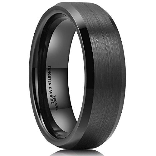 King Will Basic 7mm Men Wedding Black Tungsten Ring Matte Finish Beveled Polished Edge Comfort Fit 6