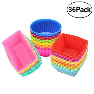 Ielek Official Silicone Cupcake Muffin Baking Cups Liners 36 Pack Reusable Non-Stick Cake Molds Sets 41pCP3kHv2L