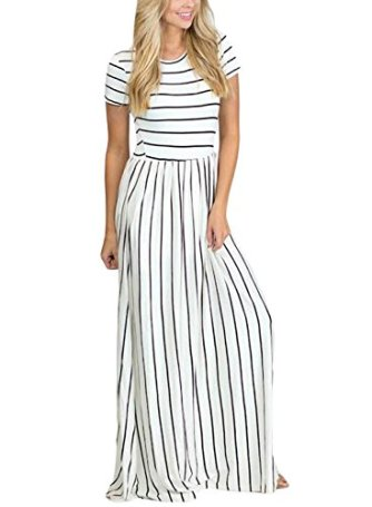 4f85d504bbdb ... Shoes and Jewelry   Women Fashion   Clothing   Dresses   HOTAPEI Women s  Summer Casual Loose Striped Long Dress Short Sleeve Pocket Maxi Dress