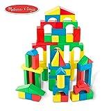 "Melissa & Doug Wooden Building Blocks Set (Developmental Toy, 100 Blocks In 4 Colors & 9 Shapes, 13.5"" H X 3.5"" W X 9"" L)"