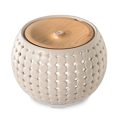 Ellia, Gather Ultrasonic Aroma Diffuser, Grey, Ceramic & Wood | 200mL Humidifier with Color-Changing Light & Mood Sounds | 10 Hours Continuous Runtime, 20 Hours Intermittent Runtime| 3 Oil Samples