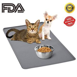 ONME Dog Feeding Mat, FDA Grade Silicone Waterproof Pet Food Mat, Standard Size Pet Feeding Mat for Dog and Cat, Non-Slip Dog Bowl Placemat(13.8 X 11.8 inch)