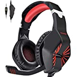 PECHAM Gaming Headset for Xbox One, PS4,Nintendo Switch, PC with Mic - Surround Sound, Noise Reduction Game Earphone, Mute Switch- 3.5MM Jack for Cell Phone, Laptops, Computer (Red)