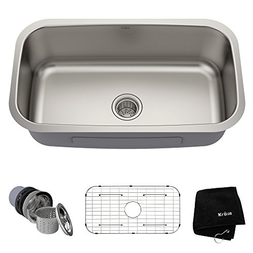 Kraus KBU14 31-1/2 inch Undermount Single Bowl 16-gauge Stainless Steel Kitchen Sink
