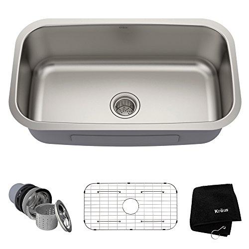 Kraus-KBU14-31-12-inch-Undermount-Single-Bowl-16-gauge-Stainless-Steel-Kitchen-Sink