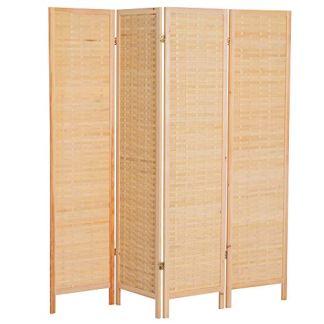 homcom Divisorio Paravento Interno per Camera da Letto Soggiorno Classico con 4 Pannelli Richiudibile in bambù e Legno 180×180 × 2cm