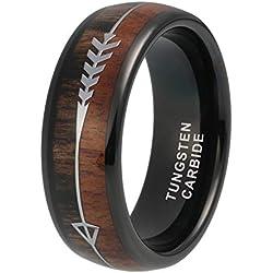 iTungsten Black Tungsten Rings for Men Women Wedding Bands Koa Wood Arrow Inlay 8mm Hunting Outdoor Jewelry