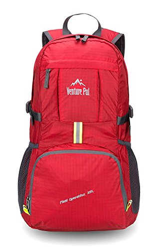 Venture Pal Lightweight Packable Durable Travel Hiking Backpack Daypack (Red)