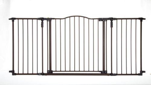 "North States 72"" Wide Deluxe Décor Baby Gate: Provides safety in extra-wide spaces with added one-hand functionality. Hardware mount. Fits 38.3""-72"" wide (30"" tall, Bronze)"