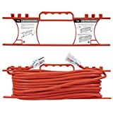 KMC 16 AWG Power Outdoor Extension Cord with Winding Cord Shelf - 16/3,100 Feet Heavy Duty 3 Prong Bright Orange Extension Cord