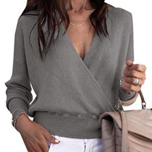 Alion Womens Wrap Deep V Neck Sweater Knitted Sweater Pullover Fall Tops
