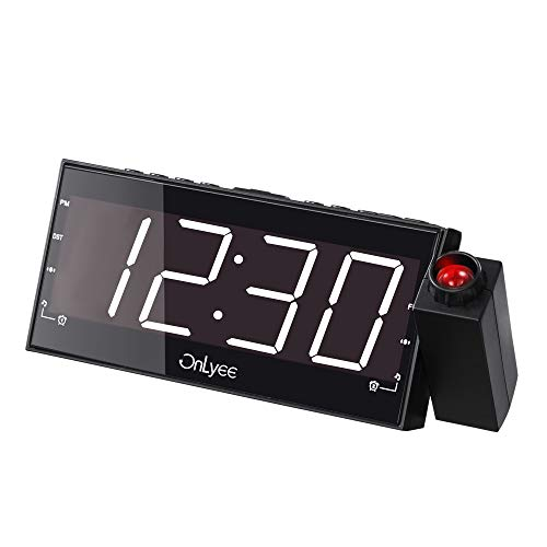 "OnLyee Projection Clock with FM Radio, 7"" LED Display, Wall Ceiling Clock, Nap/Sleep Timer, 3 Dimmer, Dual Alarm and Dual USB Ports for Wall,Travel, Bedrooms, Ceiling, Kitchen, Desk, Shelf"