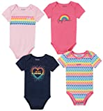 Juicy Couture Baby Girls 4 Pieces Pack Bodysuits, Blue Heather/Pink, 3-6 Months