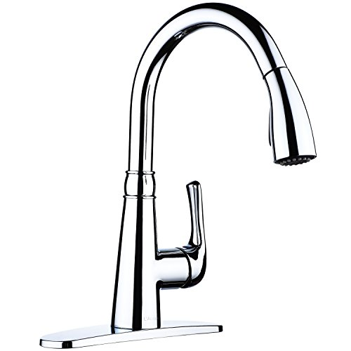 L'Acoqua Single Handle Pull Down Sprayer Kitchen Sink Faucet Chrome Kitchen Faucets with Deck Plate and Docking System