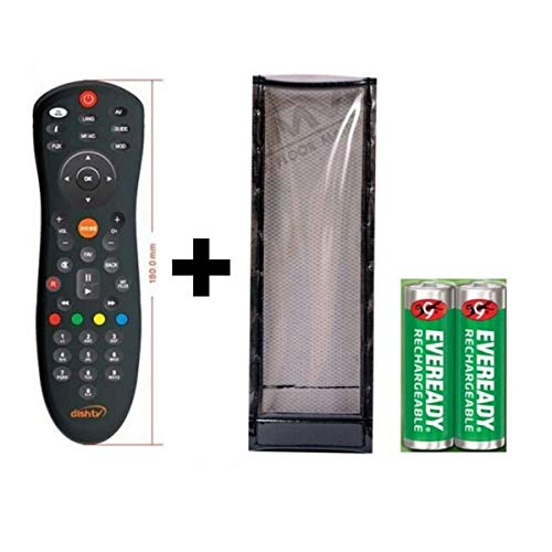 JPBROTHERS 4U, (Combo Offer) Compatible Dish TV Universal Set Top Box Remote Control (Black), with PU Leather Cover Holder (Remote + Cover Both are Given) 1
