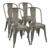 Furmax Gun Metal Dining Chair Indoor-Outdoor Use Stackable Classic Trattoria Chair Chic Dining Bistro Cafe Side Metal Chairs Set of 4(Gun)