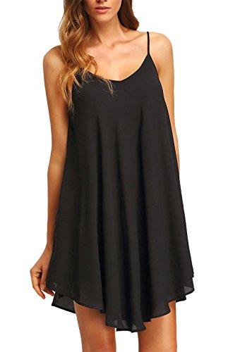 Chamllymers Women's Chiffon Sexy Sleepwear Slip Chemises Nightshirt Black L