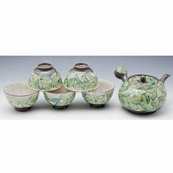 Kiyomizu-kyo yaki ware. Set of Japanese yunomi teacup and kyusu teapot green leaf with paper box. ceramic. kymz-JKA035