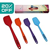 GLOUE Silicone Spatula Set-4-piece 450oF Heat-Resistant Baking Spoon & Spatulas - Ergonomic Easy-to-Clean Seamless One-Piece Design - Nonstick - Dishwasher Safe - Solid Stainless Steel-Multicolor