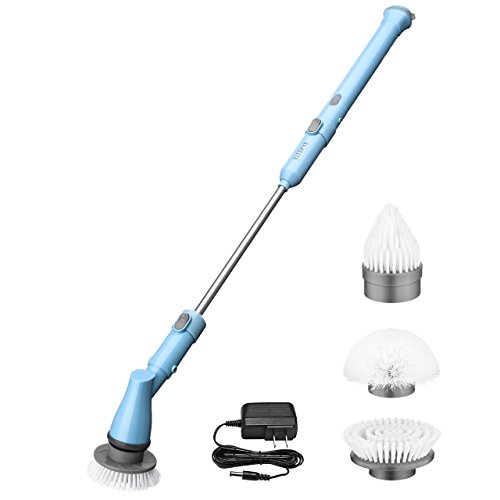 ELLESYE Electric Spin Scrubber, Power Cordless Scrubber Rechargeable Tile and Bathtub Scrubber with 3 Cleaning Scrubber Brush Heads, 1 Extension Arm and Adapter for Shower, Bathroom, Kitchen, Floor