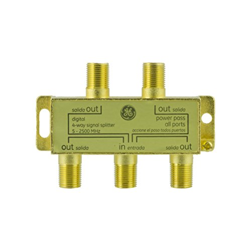 GE Pro Digital 4-Way Coaxial Splitter, Works with HDTV, Amplifiers, Amplified Antennas, RG6 Coax Compatible, 5-2500 MHZ Range, Corrosion Resistant, Gold Plated Connectors, 33527