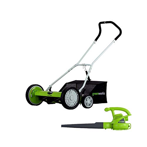 GreenWorks 18-Inch Reel Lawn Mower with Grass Catcher 25062 + 7 AMP Blower 24012