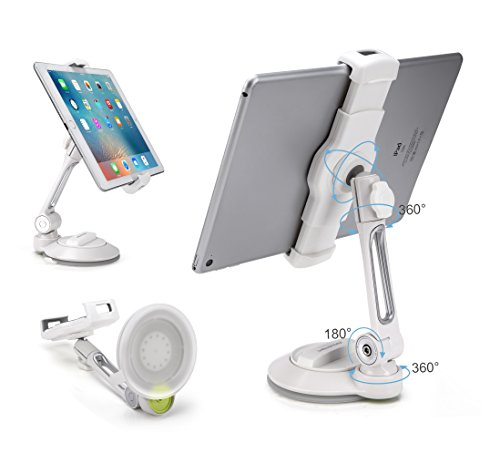 Grip Tight iPad Suction Cup Holder Fits 4-11' Display, Large Swivel Sticky Tablet Phone Stand Pad to Mount Smartphone, iPhone 5 6 7 iPad Mini, Cell on Smooth Surface Desk Countertop Mirror Car Window