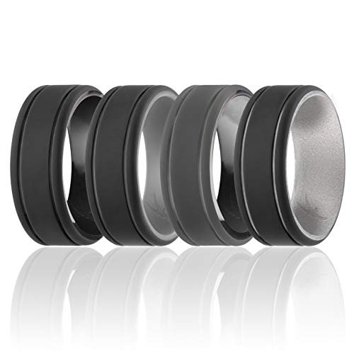ROQ Silicone Wedding Ring for Men - Duo Collection Lines Style - 4 Pack Silicone Rubber Wedding Bands - Classic Design - Black Camo, Black, Silver, Grey Colors - Size 7