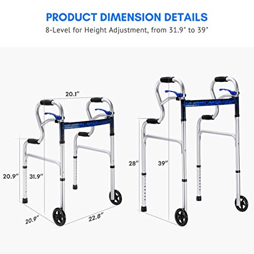 Health Line 3 in 1 Stand-Assist Folding Walker with Trigger Release and 5″ Wheels Supports up to 350 lbs, Compact Lightweight & Portable – w/Bonus Glides, Silver deal 50% off 41poJuxxQhL