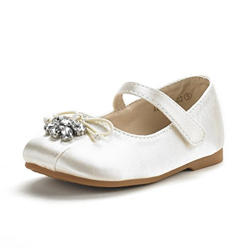 DREAM PAIRS Little Kid Aurora-02 Ivory Satin Girl's Mary Jane First Communion Flat Shoes Size 1 M US Little Kid