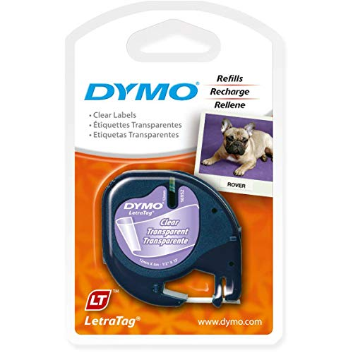 DYMO 91331 LetraTag Labeling Tape for LetraTag Label Makers, Black Print on White Plastic Tape, 1/2'' W x 13' L, 1 Roll