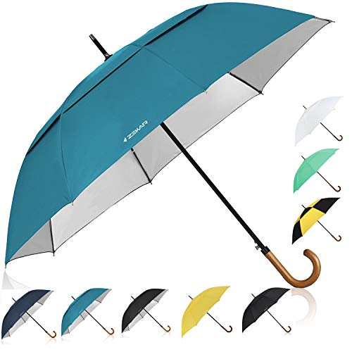 ZEKAR Wooden J-Handle Umbrella, 54/62/68 inch, UV & Classic Versions, Large Windproof Stick Umbrella, Auto Open for Men and Women