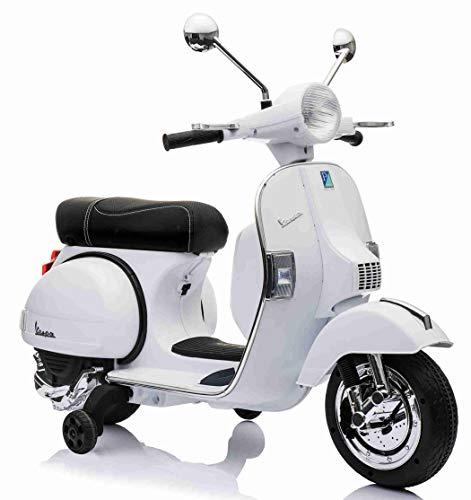 LAMAS TOYS Moto Scooter Elettrico per Bambini Ufficiale Piaggio Vespa PX 150 12V con Rotelle Sella in Pelle Nero / Beige Crema (Bianco)