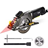 """Circular Saw, TECCPO 4-1/2"""" 3500 RPM 4 Amp Compact Circular Saw with Laser Guide, 24T Carbide Tipped Blade, Scale Ruler, Pure Copper Motor, Max Cutting Depth 1-11/16'' (90°), 1-1/8'' (45°) - TAMS24P"""
