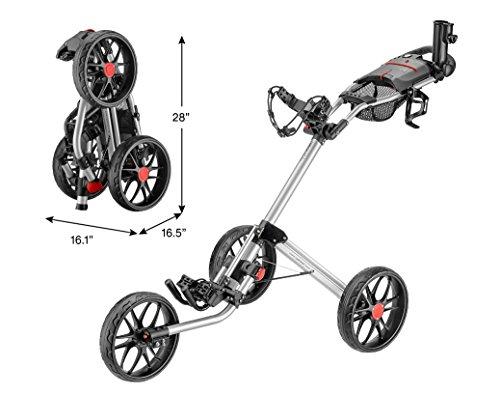 CaddyTek Caddylite 15.3 V2 - Deluxe Quad-Fold Golf Push Cart Version 2, Silver