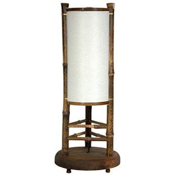 """Oriental Furniture 20"""" Koru Japanese Bamboo Table Lamp"""