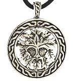 Celtic Greenman Pendant Necklace - Durable Pewter Design - Bonus Cord Necklace