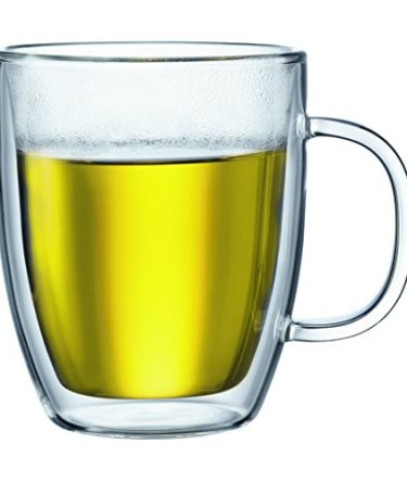 Bodum Bistro 2 Piece double wall 0.45 L 15 oz Jumbo Mug, Clear
