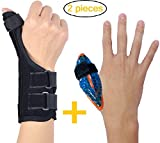 BodyMoves Thumb Splint Brace Plus Finger Hot and Cold Gel Pack- for de quervain's tenosynovitis, Tendonitis, Trigger Thumb spica,Carpal Tunnel, CMC Adjustable wrist and Reversible(Left and Right Hand)
