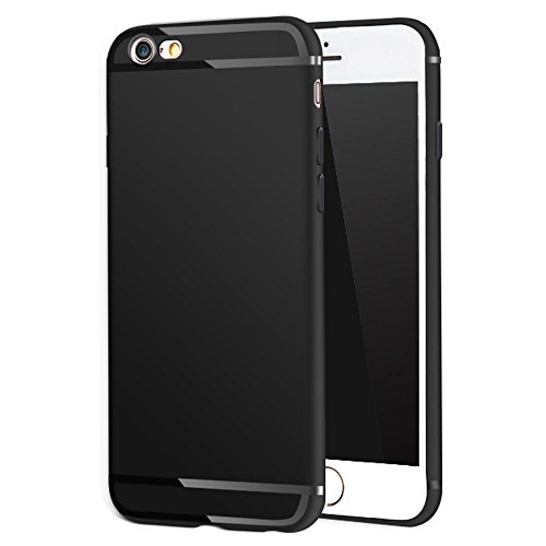 Pomufa New Version P531 iPhone 6s Plus Case, iPhone 6 Plus Case, Ultra Slim Premium Flexible TPU Back Plate Full Protective Anti-Scratch Cover Case for iPhone 6 Plus/6s Plus(Black)
