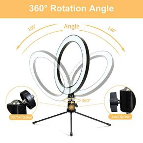 LED-102-Desktop-Selfie-Ring-Light-with-Tripod-Stand-Remote-Control-10-Brightness-Level-3-Light-Modes-and-120-Bulbs-6500k-for-YouTube-VideoLive-StreamMakeupPhotography-for-iPhone-Android