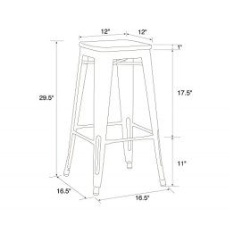72adcaf2d1a DHP Fusion Metal Backless Bar Stool with Wood Seat