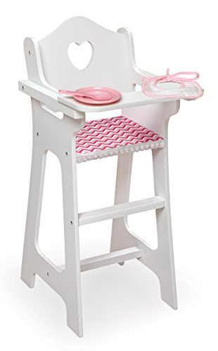 Badger Basket Doll High Chair with Plate, Bib & Spoon (Fits American Girl Dolls), Chevron/White/Pink