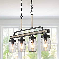 "Log Barn Rustic Mason Jar Pendant Lighting for Kitchen, 4 Lights Farmhouse Chandelier in Distressed Faux Wood and Dark Grey Metal Finish, 30"" Large Dining Room Linear Lighting, A03512"