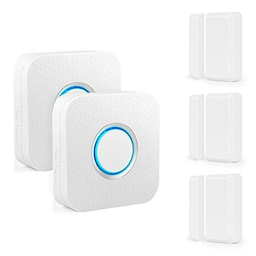 Wireless Door Sensor Alarm Chime, BITIWEND Home Security Window Entry Alert With Operating Range 600 feet/52 Chimes For Home/Garage/Shop (3 Door Sensors & 2 Receiver)